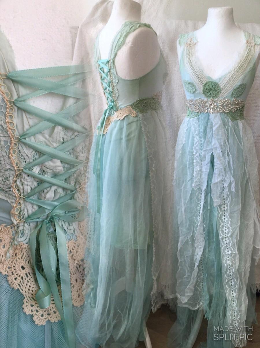 Mariage - Empire cut wedding dress,Wedding dress turqoise,lace wedding dress,shabby chic wedding dress,statement wedding dress,repurposed wedding dres