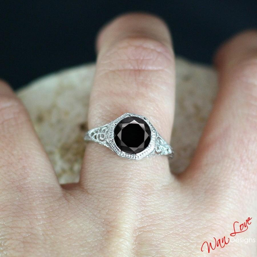 Hochzeit - Black Spinel Filigree Milgrain Round Solitaire Engagement Ring 2ct 8mm 14k 18k White Yellow Rose Gold-Platinum Custom Wedding Anniversary