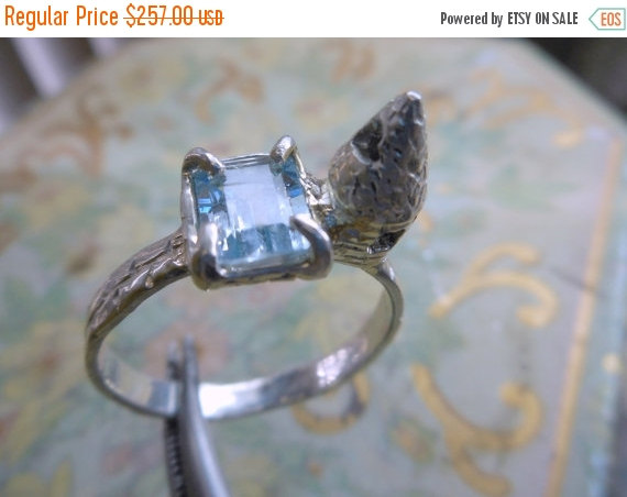 Свадьба - Princess Bride engagement ring handmade Mini medieval castle Sterling Silver 2 Ct Aquamarine small story Lost wax cast handmade fairytale