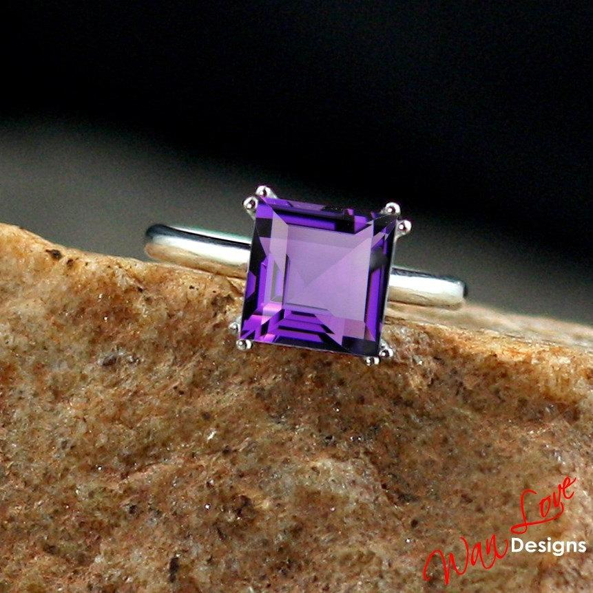 Свадьба - Amethyst Solitaire Square Princess Engagement Ring 3.5ct 9mm 14k 18k White Yellow Rose Gold Platinum Custom made size Wedding Anniversary