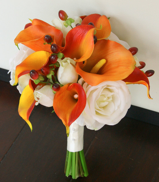 Wedding - Silk Wedding Bouquet - Natural Touch Wedding Flowers Orange Calla Lilies - Orange Silk Bridal Flowers