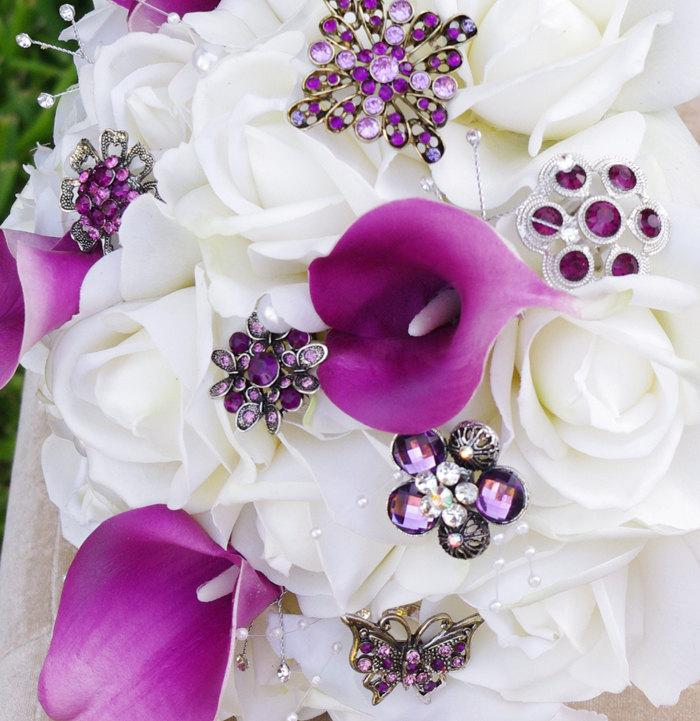 Wedding - Brooch Wedding Off White Natural Touch Roses and Violet Callas Silk Flower Bride Bouquet