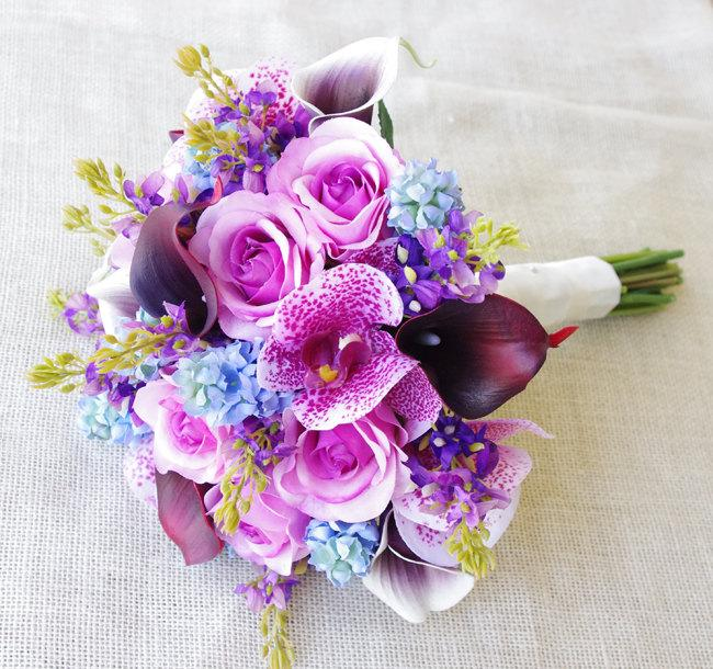 Wedding purple mix of fuchsia and blue lilac natural touch orchids wedding purple mix of fuchsia and blue lilac natural touch orchids callas and roses silk flower bride bouquet mightylinksfo