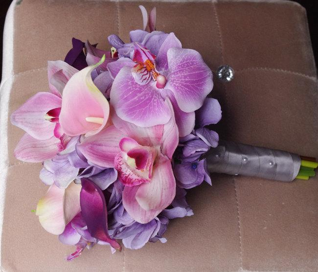 Wedding - Wedding Purple Mix of Pink and Lilac Lavender Natural Touch Orchids, Callas and Hydrangeas Silk Flower Bride Bouquet