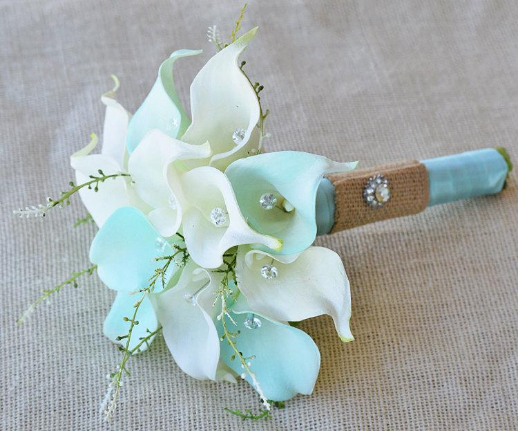 Silk flower wedding bouquet mint aqua robbins egg or aruba blue silk flower wedding bouquet mint aqua robbins egg or aruba blue calla lilies natural touch with crystals and greens silk bridal bouquet junglespirit Images