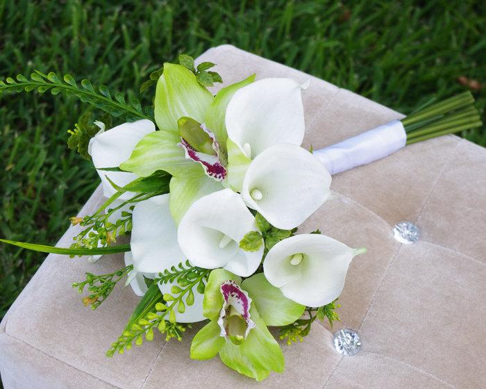 Silk Wedding Off White Natural Touch White Calla Lilies And Green