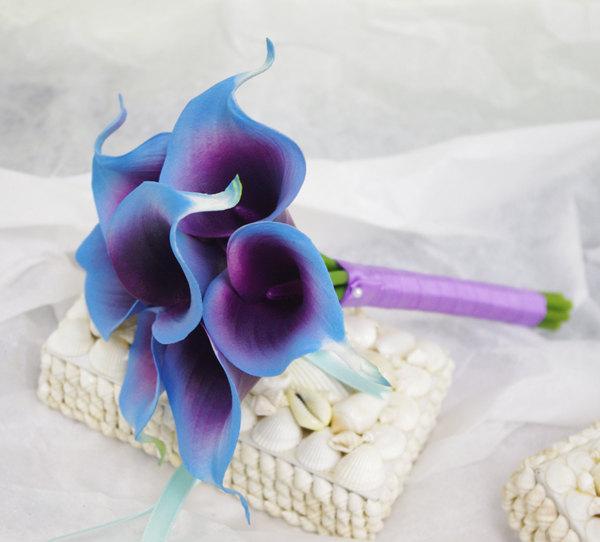Wedding - Silk Flower Wedding Bouquet - Purple Blue Calla Lilies Natural Touch Silk Bridal Bouquet