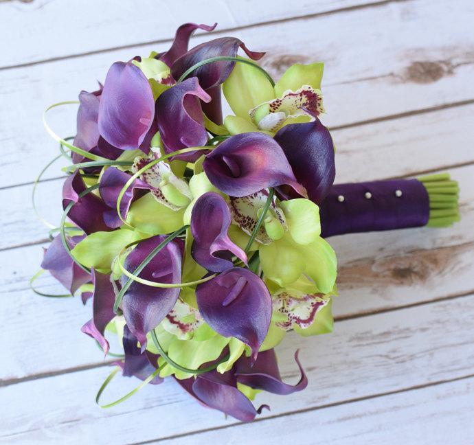 Mariage - Wedding Purple Plum Calla Lilies and Green Cymbidium Natural Touch Silk Orchids Flower Bride Bouquet