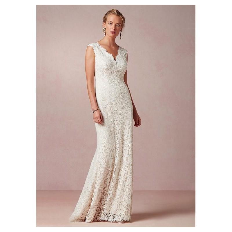 Mariage - Glamorous Lace Sheath V-neck Raised Waistline Wedding Dress - overpinks.com