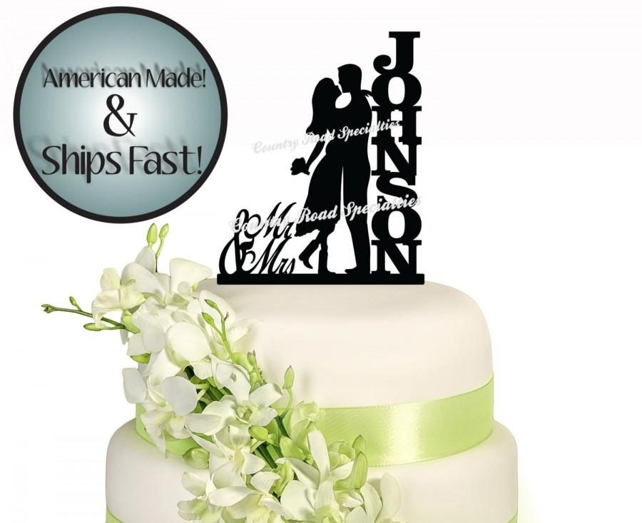 Wedding - Silhouette Romant Couple with Surname Wedding Cake Topper