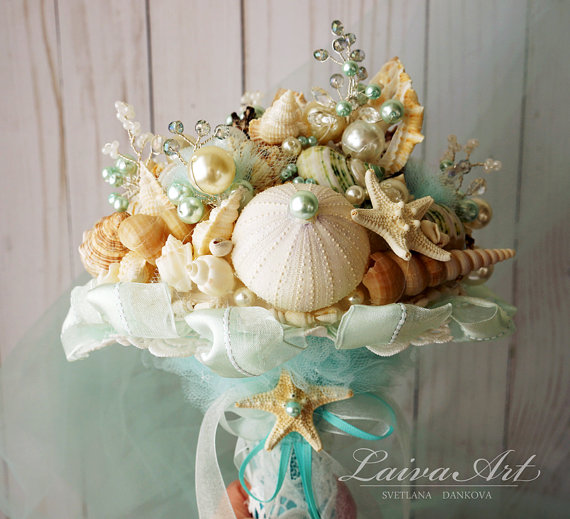 زفاف - Beach Shell Bouquet Starfish Bouquet Beach Wedding Bouquet Seashell Wedding Bouquet