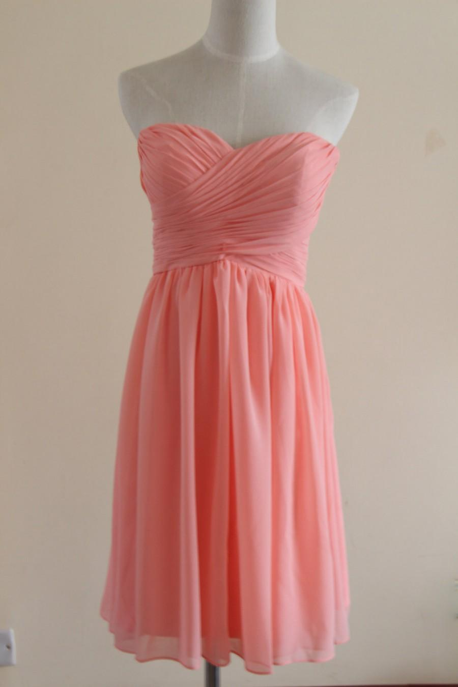 Mariage - Coral Sweetheart knee-length Bridesmaid Dress Short Coral Strapless Bridesmaid Dress