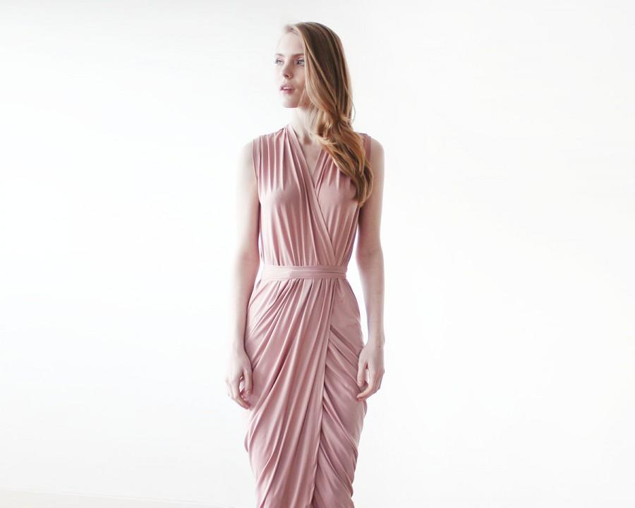 Mariage - Pink wrap gown , Pink maxi formal tulip dress , Sleeveless summer maxi gown 1055