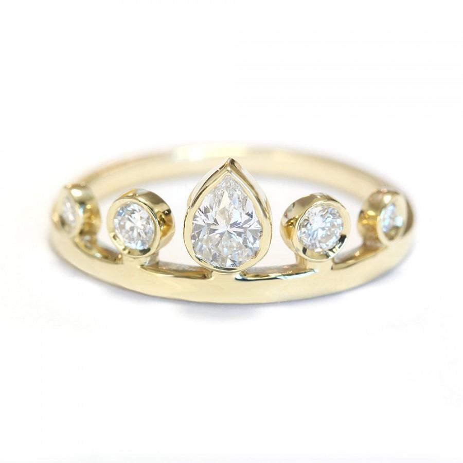 Wedding - Pear Diamond Crown Engagement Ring - Unique Engagement Rings - Pear Shaped Diamond - Crown Ring