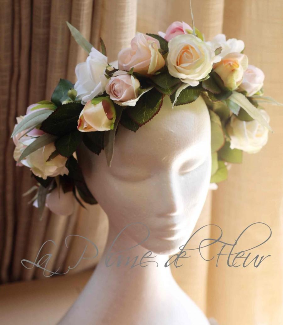Flower Crown Wedding Headband White Cream Peach Pink Boho