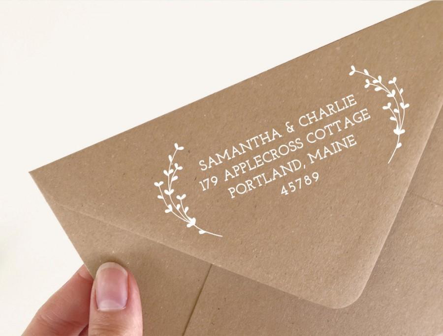 زفاف - Return Address Rubber Stamp. Wedding Address Stamp. Laurel Address Stamp. Custom Rubber Stamp. Wedding Stamp. Return Address  (SADDR129)