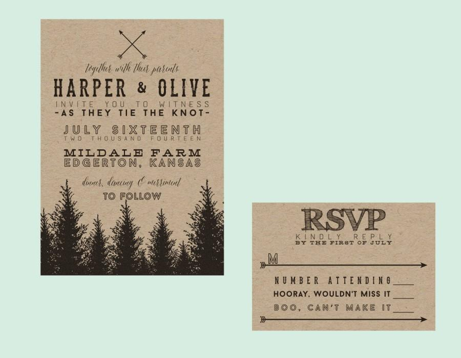 rustic tree typography wedding invitation down payment towards printed sets rustic wedding typography wedding forest wedding