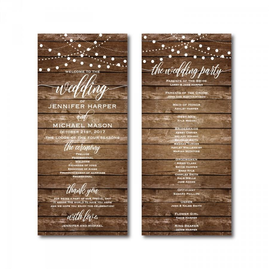 wedding program template diy wedding program wedding program printable ceremony template rustic wedding pdf instant download