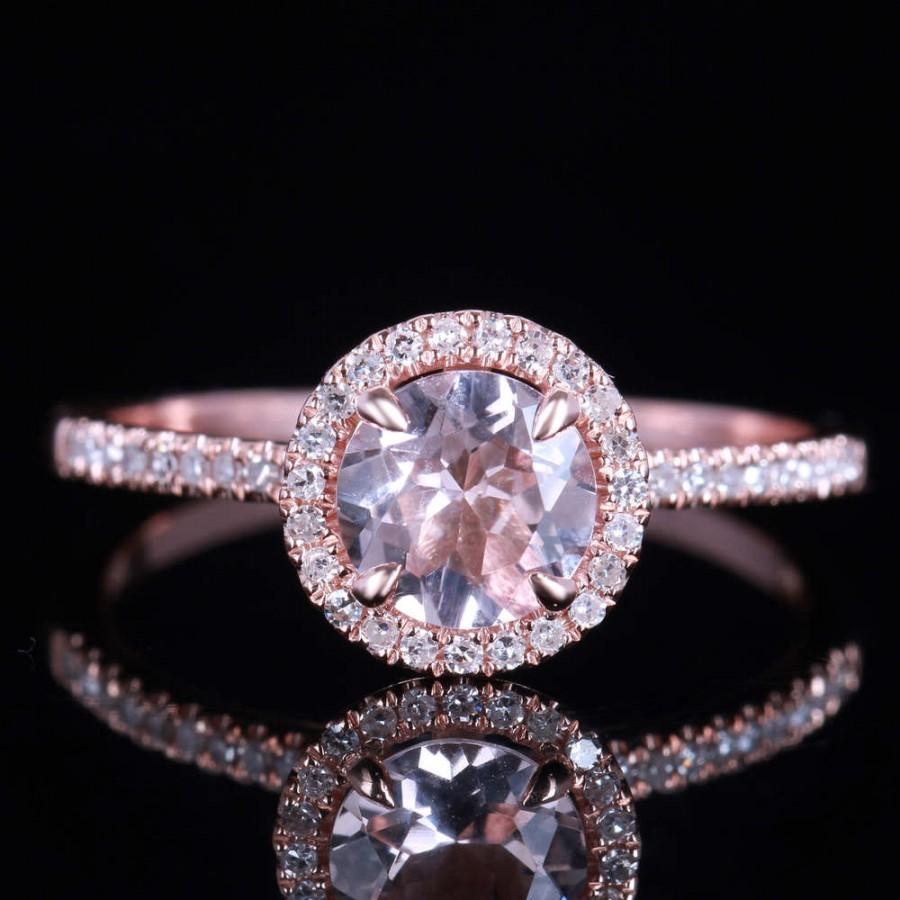 Wedding - Limited Time Sale 1.50 carat Morganite and Diamond Engagement Ring in 10k Rose Gold for Women