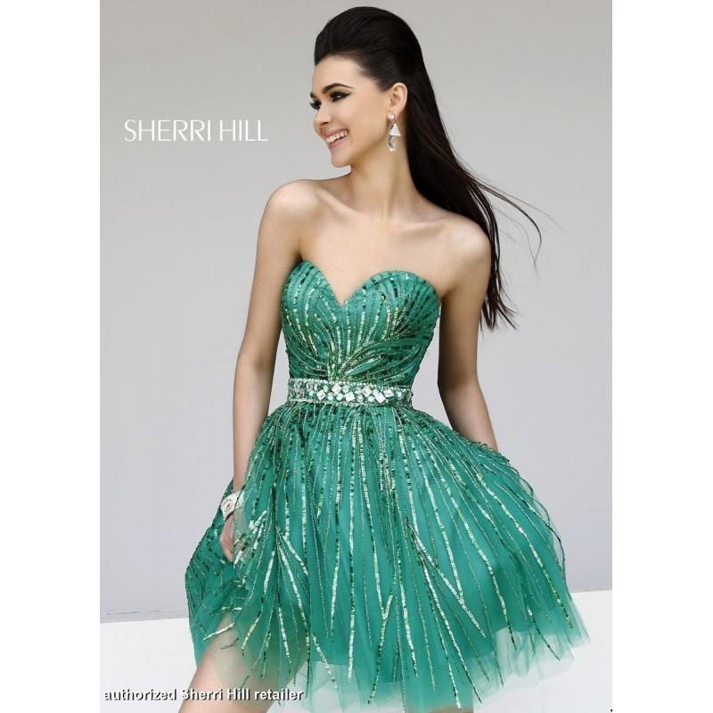 Designer Bodice Green Sequined Strapless Sweetheart Sherri Hill ...