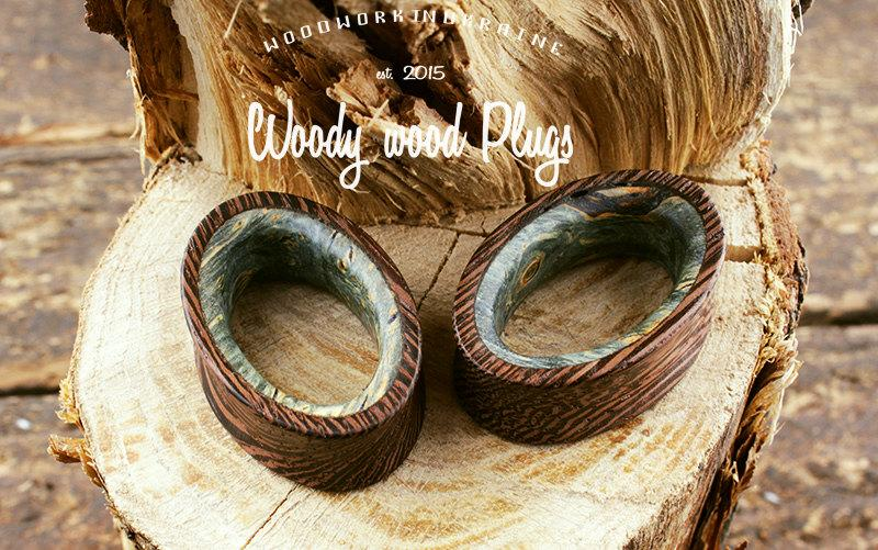 Wedding - Wooden ellipse plugs - from wenge wood with blue maple inlays - ear plugs - organic plugs - natural plugs - wood plugs