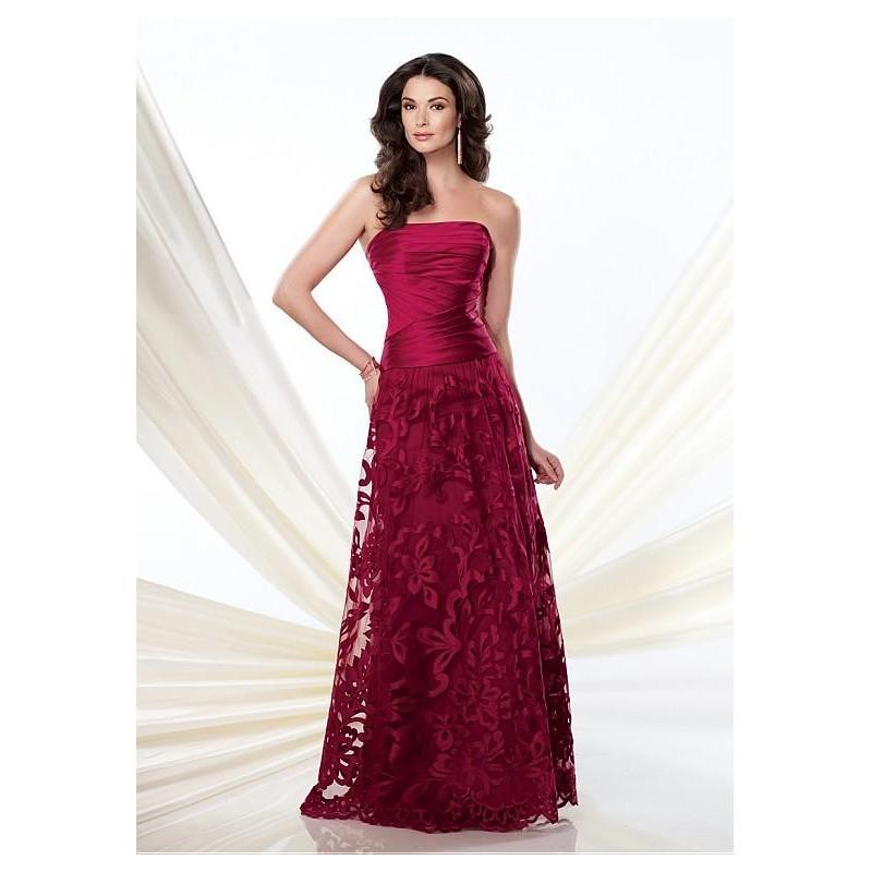 Свадьба - Elegant Lace & Satin A-line Strapless Neckline Full-length Mother of the Bride Dress - overpinks.com