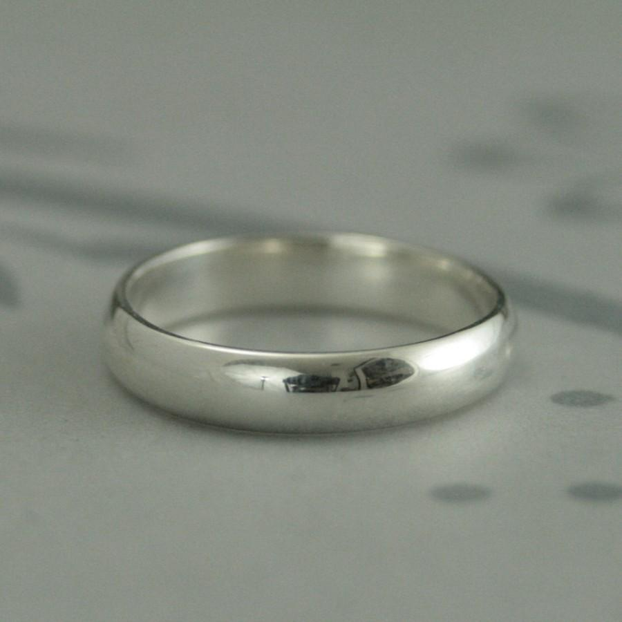 men's wedding band--plain jane 4mm wide band--low profile rounded