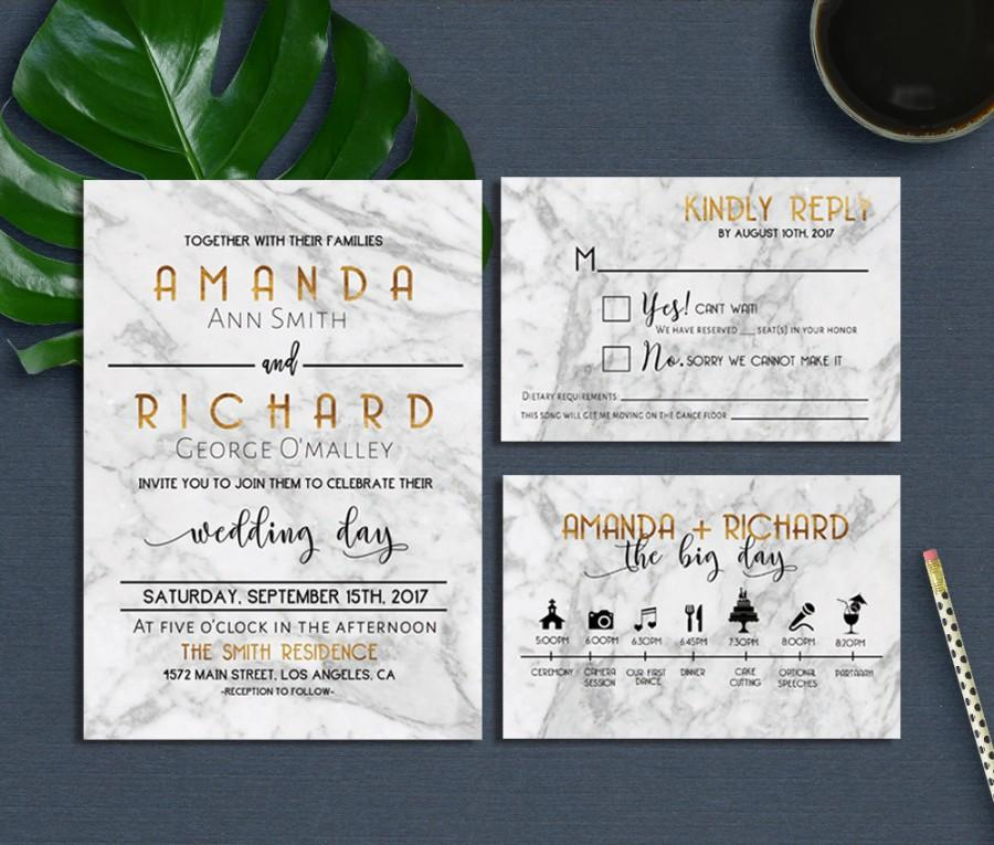 graphic regarding Printable Wedding Invitation Kits known as Marble Marriage Invitation, Ground breaking Marble Marriage ceremony Invitation