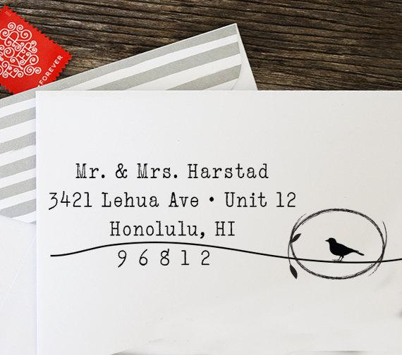 Self Inking Stamp Return Address Custom Wedding Gift Rubber Personalized 1047