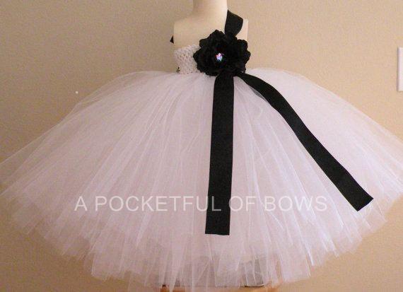 Wedding - White Flower Girl Dress, White Ball Gown, Long White Tulle Dress