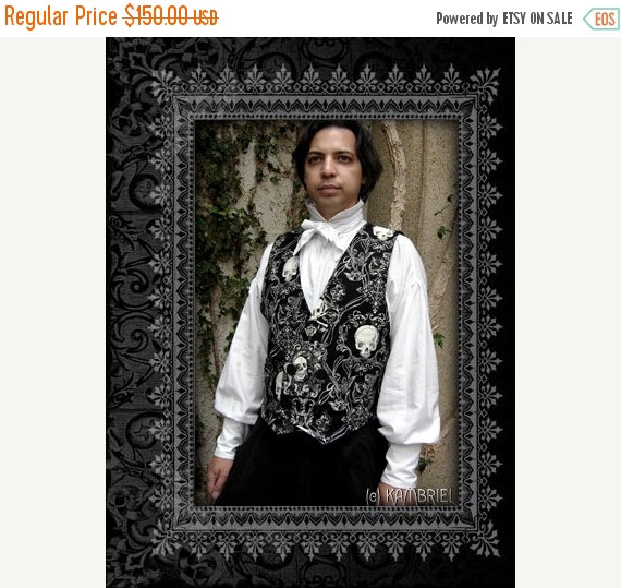 Wedding - SALE Double Breasted Skull Waistcoat Vest by Kambriel - Brand New and Ready to Ship!
