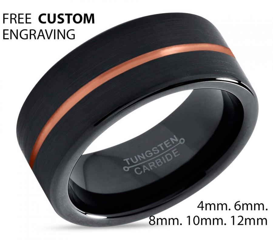زفاف - Black Tungsten Ring Rose Gold Wedding Band Ring Tungsten Carbide 8mm 18K Tungsten Ring Man Wedding Band Male Women Anniversary Matching
