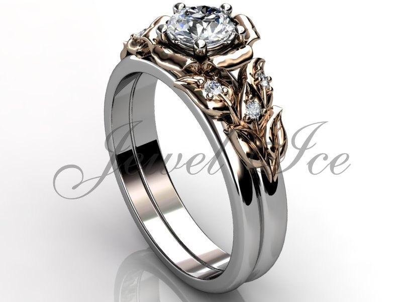 زفاف - 14k two tone white and rose gold diamond unusual unique flower engagement ring, wedding ring, flower engagement set ER-1066-5