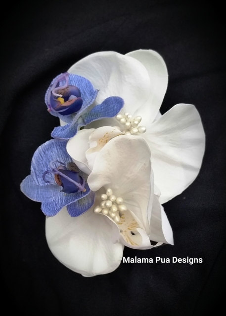 Tropical Bridal Hair Clip Blue White Orchid Hair Flower Hair
