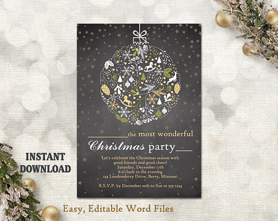 Wedding - Christmas Party Invitation Card - Chalkboard Printable Template - Holiday Party Card - Christmas Card - Editable Template - Gold White DIY