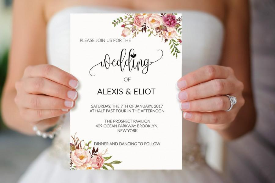 Sale 5 floral wedding invitation templates printable for Wedding invitation template for sale
