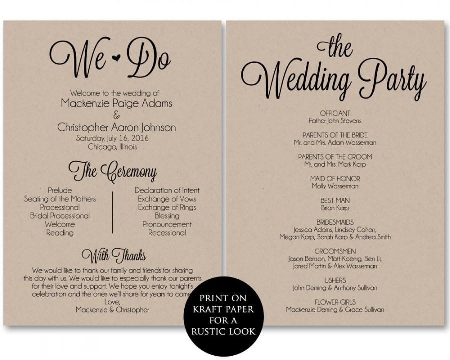 Ceremony Program Template, Wedding Program Printable, We Do, Wedding ...