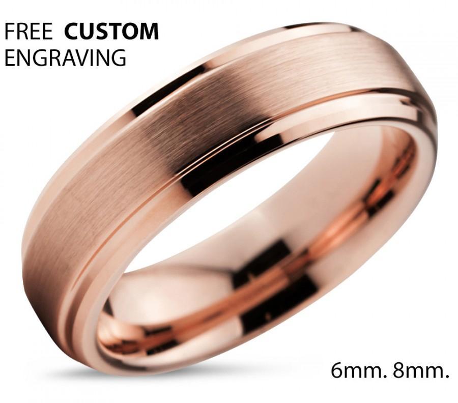 Mariage - Tungsten Ring Rose Gold Wedding Band Ring Tungsten Carbide 6mm 18K Tungsten Ring Man Wedding Band Male Women Anniversary Matching