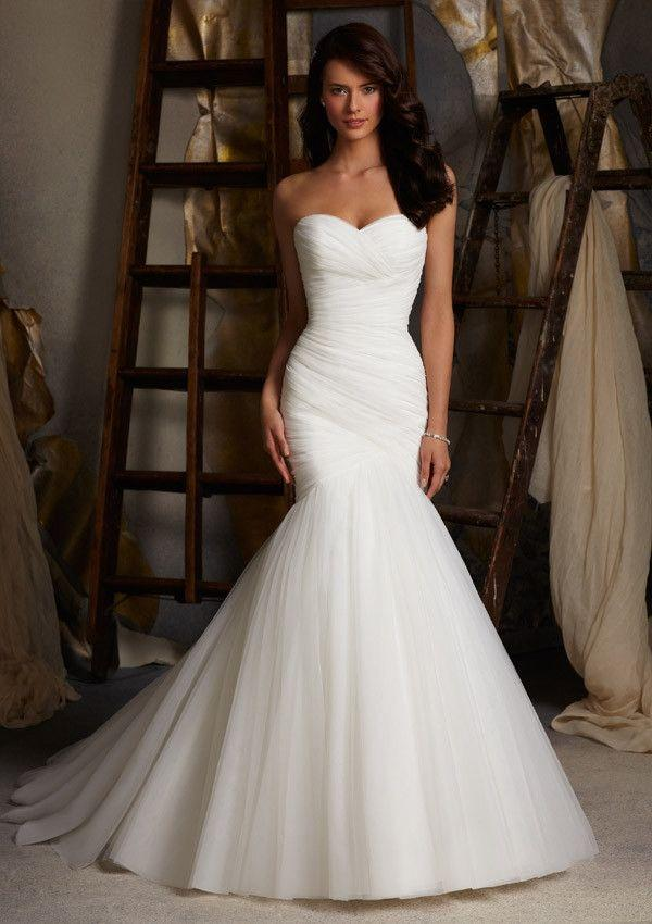 Hochzeit - Mori Lee 5108 Asymmetrical Fitted Wedding Dress, Ivory Size 12