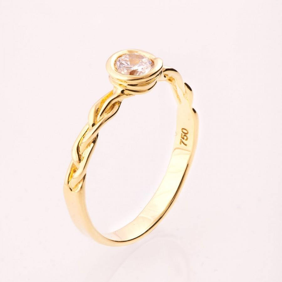 Mariage - Braided Engagement Ring No.3 - 14K Gold and Diamond engagement ring, celtic ring, engagement ring, wedding band