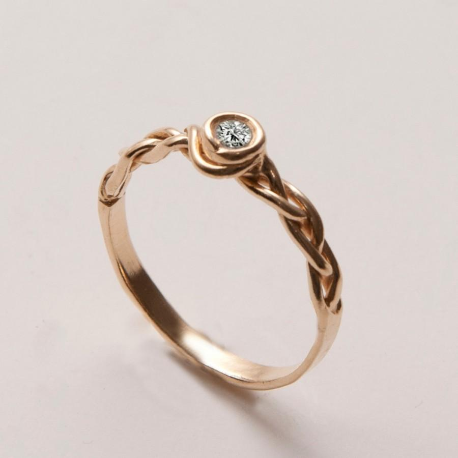 Mariage - Braided Engagement Ring No.3 - 14K Gold and Diamond engagement ring, celtic ring, engagement ring, wedding band, unique engagement ring