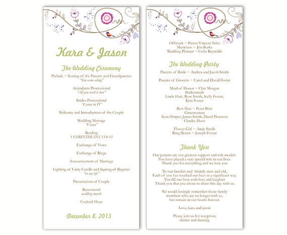 "Wedding - Wedding Program Template DIY Editable Text Word File Download Program Colorful Wedding Program Bird Floral Program Printable Program 4x9.25"""