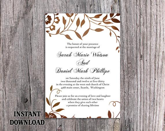 زفاف - DIY Wedding Invitation Template Editable Word File Instant Download Printable Leaf Invitation Rustic Gold Invitation Elegant Invitation