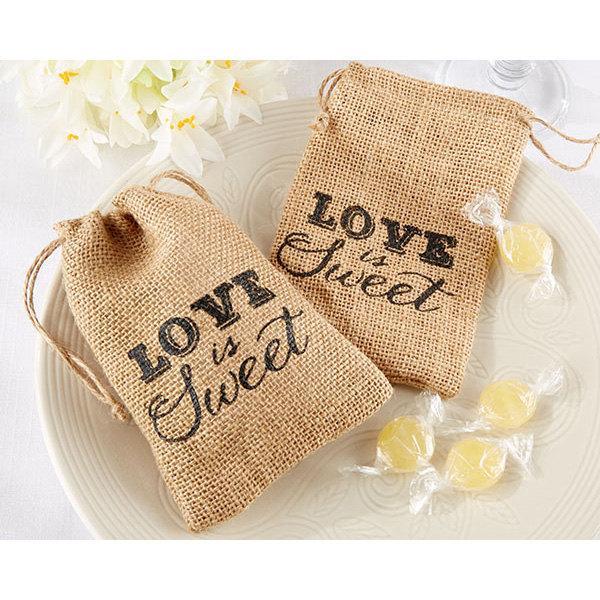 Mariage - 12 Burlap Favor Bags Love is Sweet Burlap Drawstring Favor Bags Wedding Favor Bags