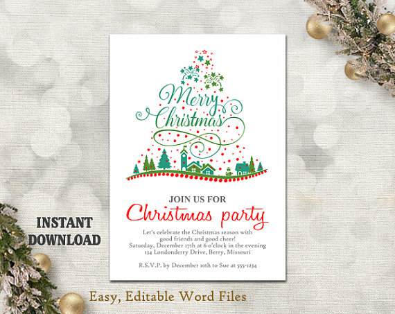 Hochzeit - Christmas Party Invitation Template - Printable Christmas Tree - Holiday Party Card - Christmas Card - Editable Template - Green - Red - DIY