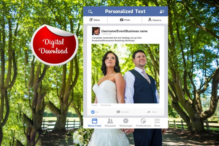 Mariage - Facebook Frame, Custom Design, Photo Booth Prop, Digital Download, Wedding Props, Digital File
