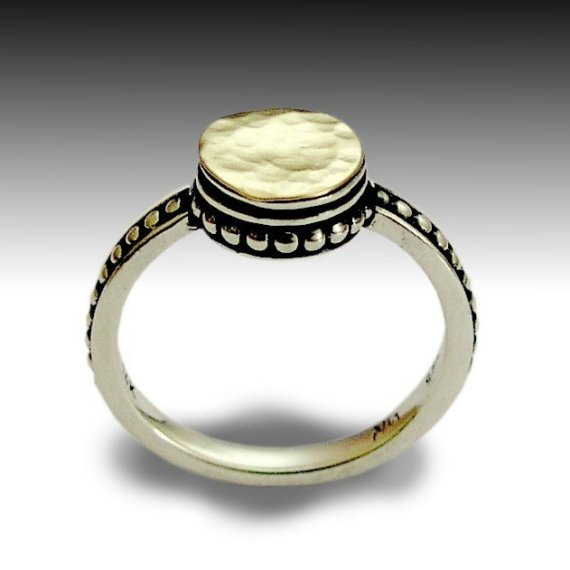 Mariage - Silver gold ring, thin ring, dotted ring, hammered gold ring, dainty ring, engagement ring, delicate ring, two toned ring - Refraction R0154