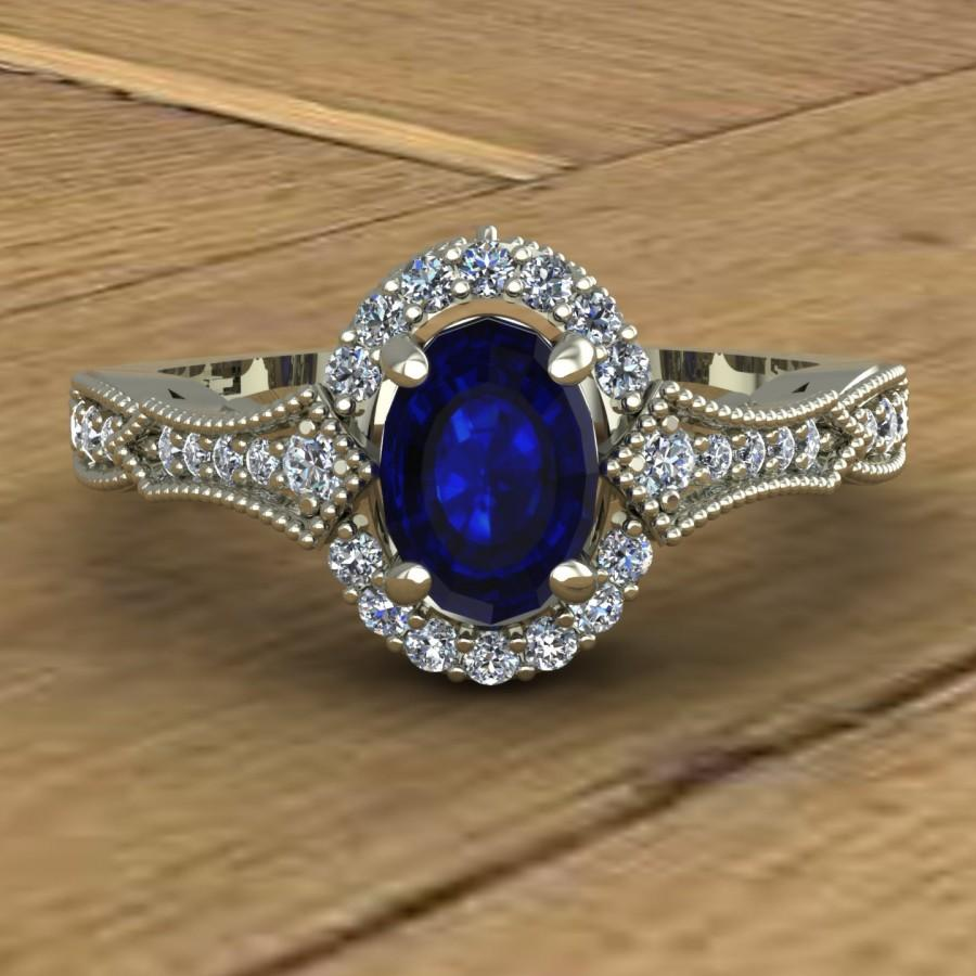 Mariage - Blue Sapphire Engagement Ring - Oval - Diamond Sides with Milgrain Beading - Scrolls - 14k White Gold  - An Original Design by Charles Babb