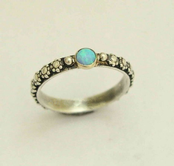 Hochzeit - silver engagement ring, flower ring, gemstone ring, bohemian ring, silver gold ring, opal ring, unique ring for her - Your desire R1286