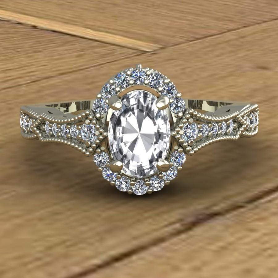 White Sapphire Engagement Ring - Oval - Diamond Sides With ...
